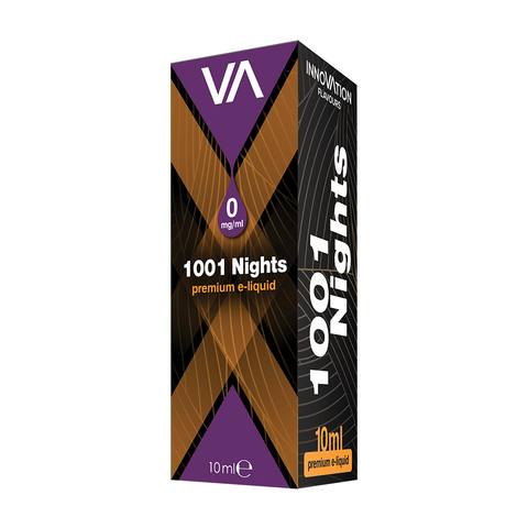 Innovation 1001 Nights vape juice tobacco flavour. Box black and purple 0 mg/ml