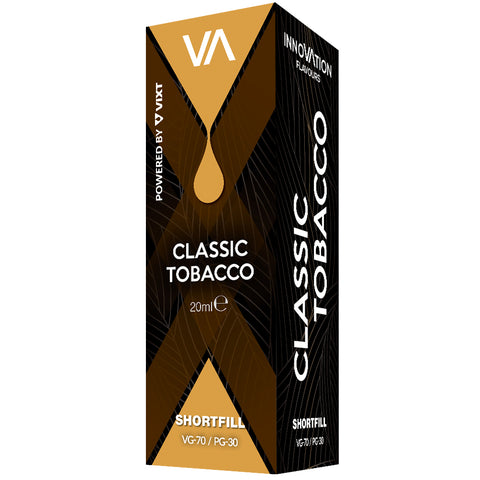 INNOVATION Classic Tobacco Vape Juice. he toasty, mellow essence of Virginia tobacco mingles with aromatic notes of the finest Turkish tobacco.