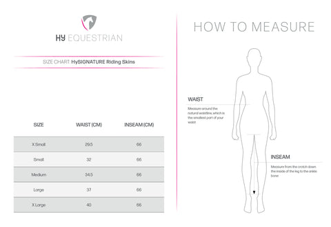 Hy Signature Riding Skins Size Guide