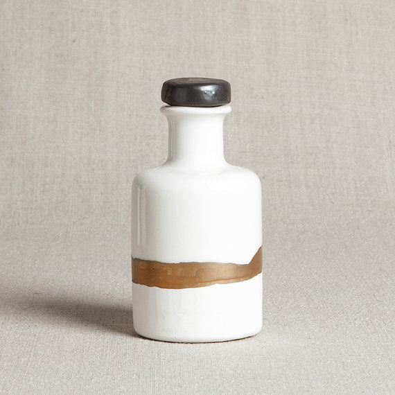 White & Copper Porcelain Apothecary Bottle