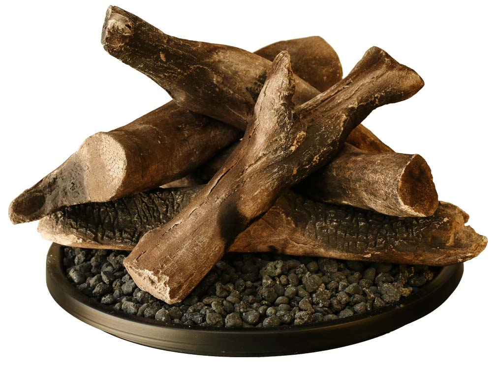 Outdoor Firepit burner with ceramic Logs
