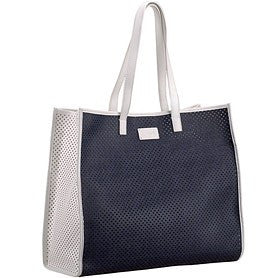 Fendi Navy Leather Perforated Shopper Bag White Trim