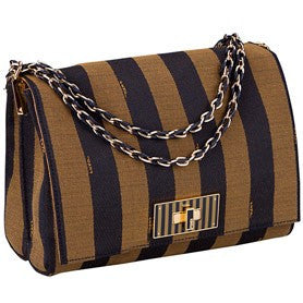 Fendi Pequin Claudia Medium Fendi Striped Canvas