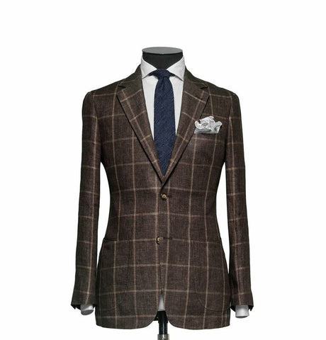 """The Charleston"" Dark Brown Windowpane Suit"