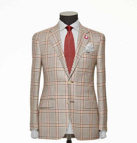 """The Charleston"" Cream and Brown Windowpane Suit"