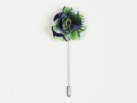 """The Gesture"" Blue and Green Floral Lapel Pin"
