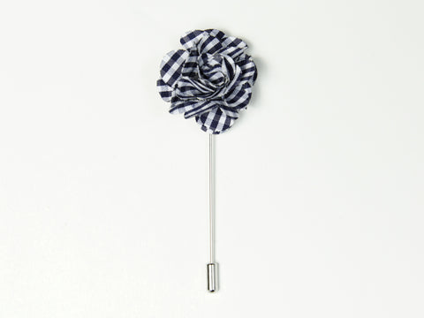 """The Gesture"" Navy/White Gingham Floral Lapel Pin"