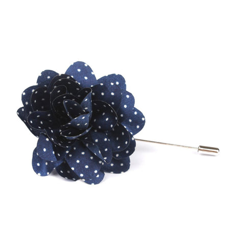 """The Gesture"" Heather Navy and White Floral Lapel"