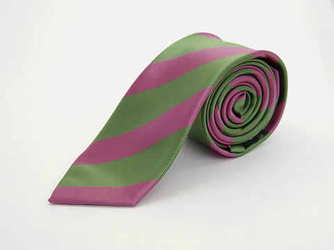 """The Creator"" Pink and Green Stripe Necktie"