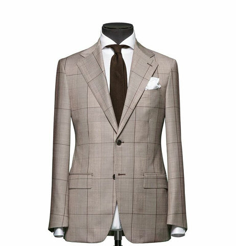 """The Charleston"" Tan and Brown Windowpane Suit"