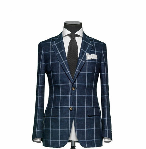 """The Charleston"" Navy Blue Windowpane Suit"