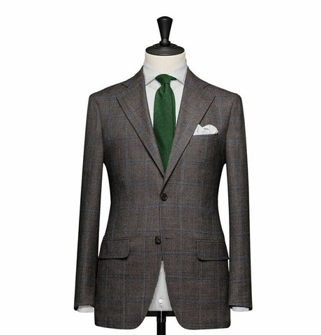 """The Charleston"" Gray and Blue Windowpane Suit"