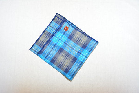 Teal Plaid Pocket Square