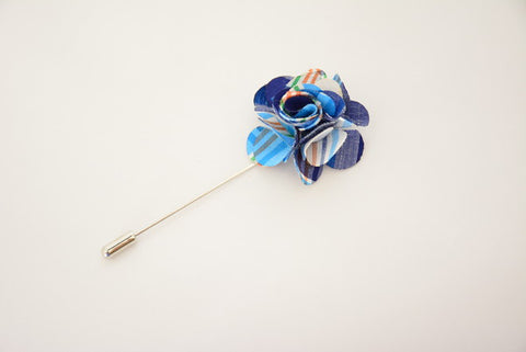 """The Gesture"" Blue and Orange Floral Lapel Pin"