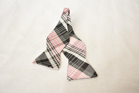 Barrington Plaid Gray and Pink Bowtie