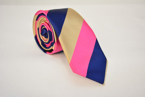 "The Creator"" Tan Pink and Navy Stripe"