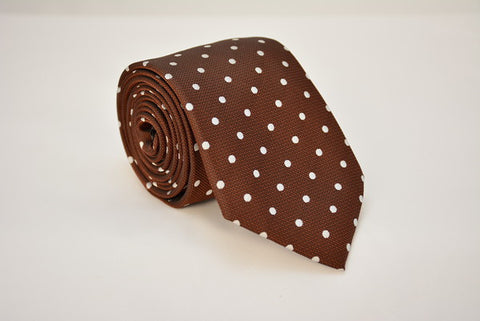 Albany Brown Polka Dot Necktie