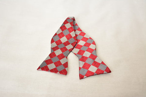 Lincoln Argyle Burgundy and Gray Bowtie