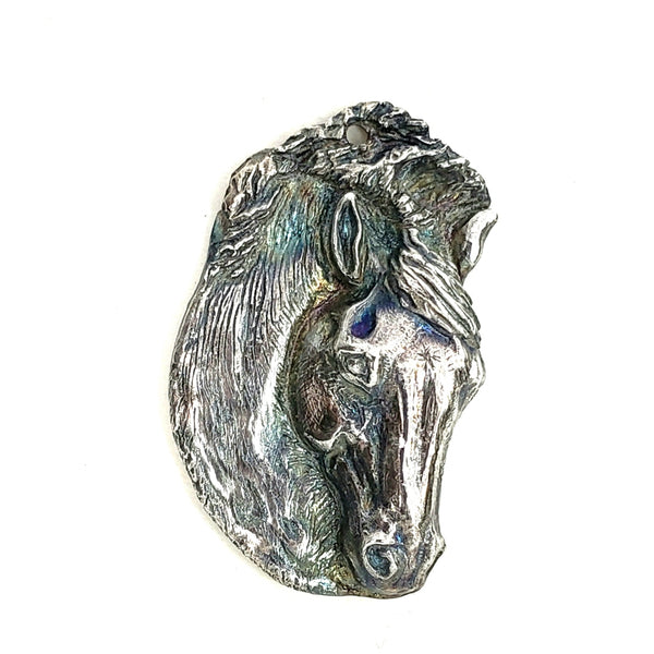 Sculpted Silver Horse Portrait Created to Cherish a Beloved Equine Companion