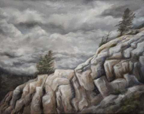 Rocky cliffs with wind sculpted pine trees set against a sky full of billowing flowing clouds, Killarney Ontario landscape  oil painting 24 x 30 by Renee Fukumoto