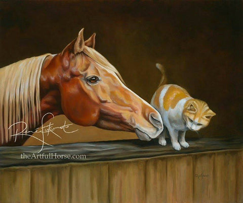 Chestnut Arabian mare with barn cat portrait oil painting, classical realism, by Canadian artist Renee Fukumoto