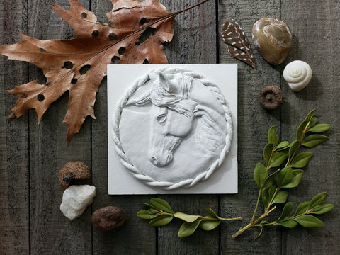 White sculpture horse head portrait air dry clay 4 inch frame able copyright renee fukumoto