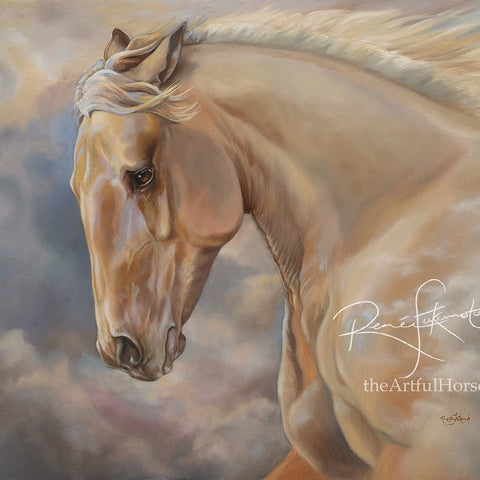 Hope Rising galloping pale palomino horse in billowing clouds oil painting by Canadian Artist Renee Fukumoto