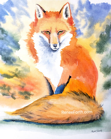 Watercolour red fox painting, brightly colored, loose style, by Canadian artist Renee Fukumoto