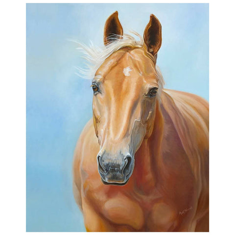 Palomino Horse Portrait with soft eyes and gentle face oil painting by Canadian Artist Renee Fukumoto
