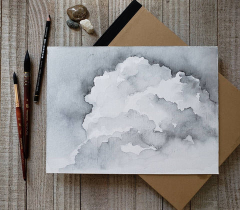 Black and white ink watercolor clouds by Renee Fukumoto