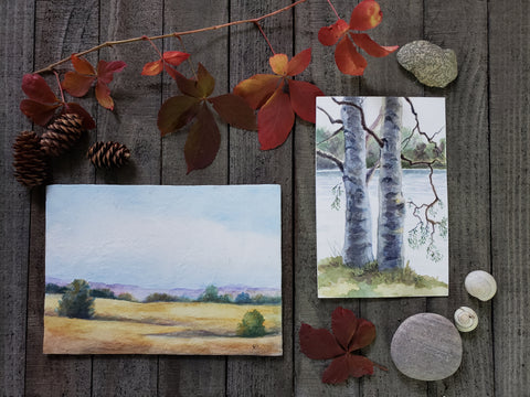 Little Paintings from outdoor painting sessions in Ontario parks and conservation areas Watercolour trees and fields Copyright Renee Fukumoto 2020