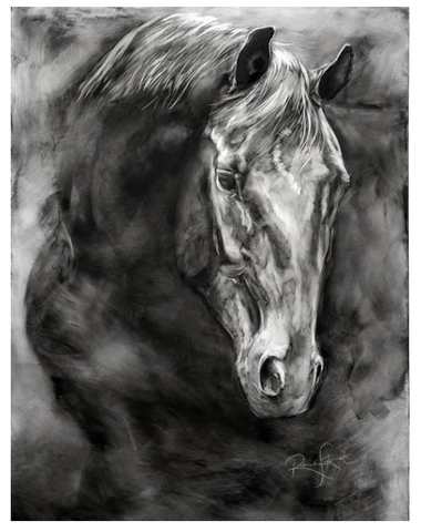 Black and white dynamic horse portrait painting of Remi animal art by Renee fukumoto Canadian artist