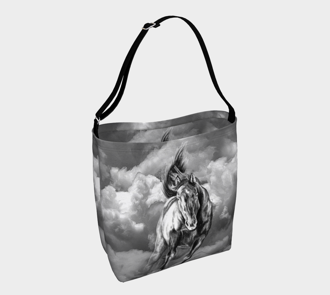 Storm Warning Black and White Horse Art Day Tote Bag