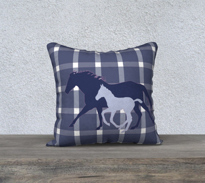 Galloping Mare and Foal with Navy and Pink Plaid Decor Pillow Cover