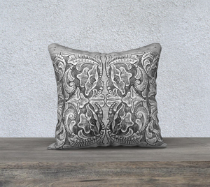 Tooled Leather Design Black & White Pillow Cover