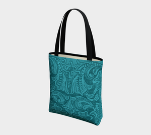Turquoise Tooled Leather PRINT Tote Bag, Poly Canvas