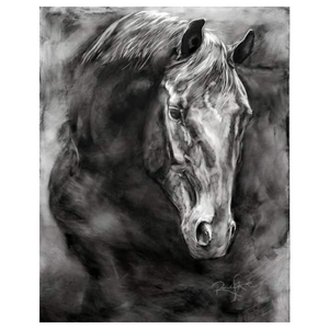 Sweet Entreaty - Large Charcoal Horse Painting 30 x 40 x 1.5