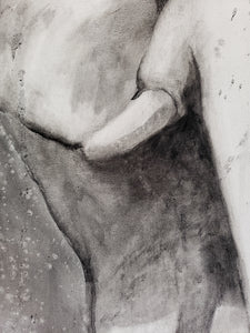 Elephant charcoal painting by Renee Fukumoto detail left tusk