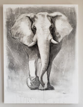 Load image into Gallery viewer, Elephant painting in charcoal on canvas 30x40x1.5 by Renee Fukumoto. Monochrome, black and white elephant art.