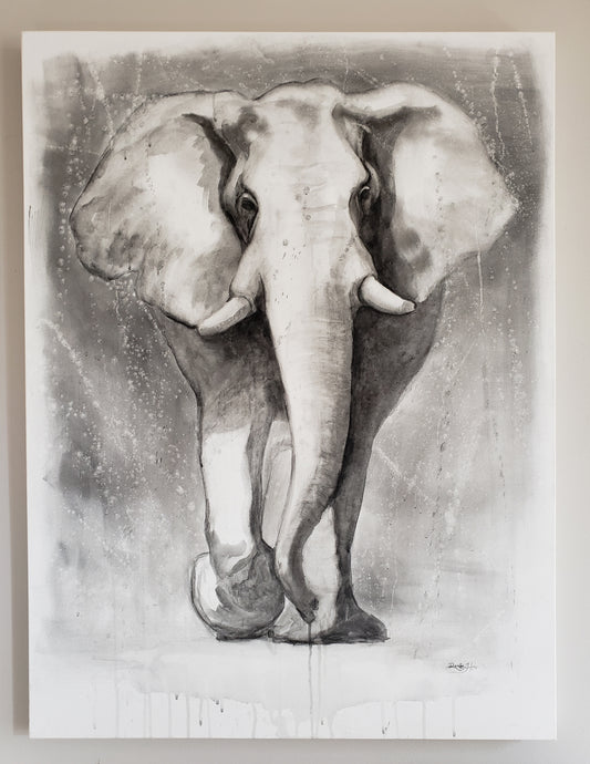 Elephant painting in charcoal on canvas 30x40x1.5 by Renee Fukumoto. Monochrome, black and white elephant art.
