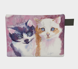 Pretty Kittens Watercolour Zipper Case