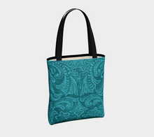 Load image into Gallery viewer, Turquoise Tooled Leather PRINT Tote Bag, Poly Canvas