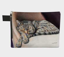 Load image into Gallery viewer, Sleeping Tabby Cat Zipper Case, Carry All, Cat Decor, Kitty Cat, Sleepy Kitty, Cat Lovers, Cat Lady Gifts