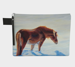 Snow Bound Chestnut Pony Zipper Carry All, Zipper Case, Horse Accessories, Pony Decor, Chestnut Pony, Winter, Gifts for Horse Lovers, Pony Lovers, Equestrian Decor, Cowgirl,
