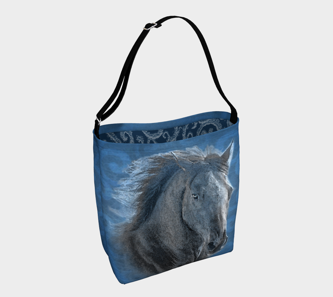 Magnificent Horse in Blue Equestrian Day Tote Bag