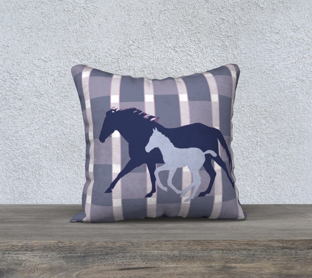 Galloping Mare and Foal with Navy and Wide Pink Plaid Decor Pillow Cover