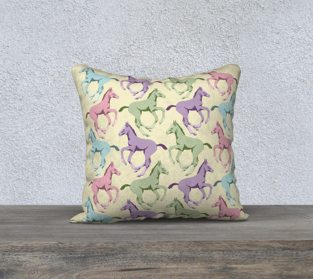 Pretty Prancing Pony Foals Decor Pillow Cover 2