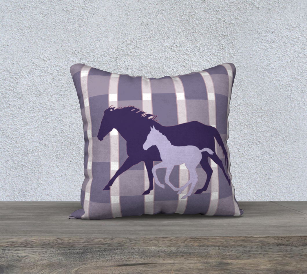 Galloping Mare and Foal with Purple Plaid Decor Pillow Cover