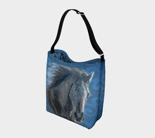 Load image into Gallery viewer, Magnificent Horse in Blue Equestrian Day Tote Bag
