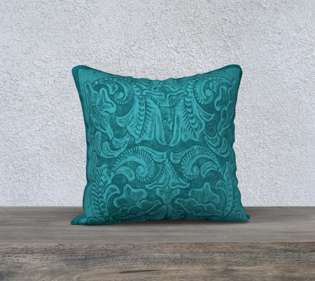 Turquoise Tooled Leather Pattern Decor Pillow Cover